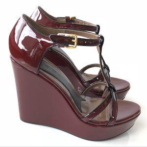 Marni Black Burgundy Patent Leather Wedge Heels